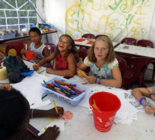 drawing at the kids' club