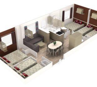 vue 3D interieur mobil-home sable